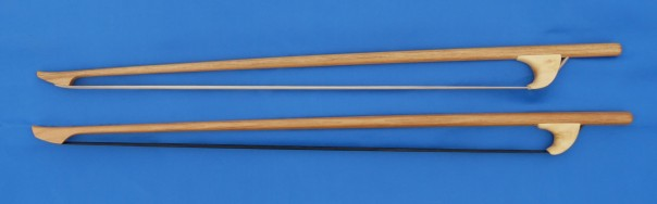 Baroque double bass bows